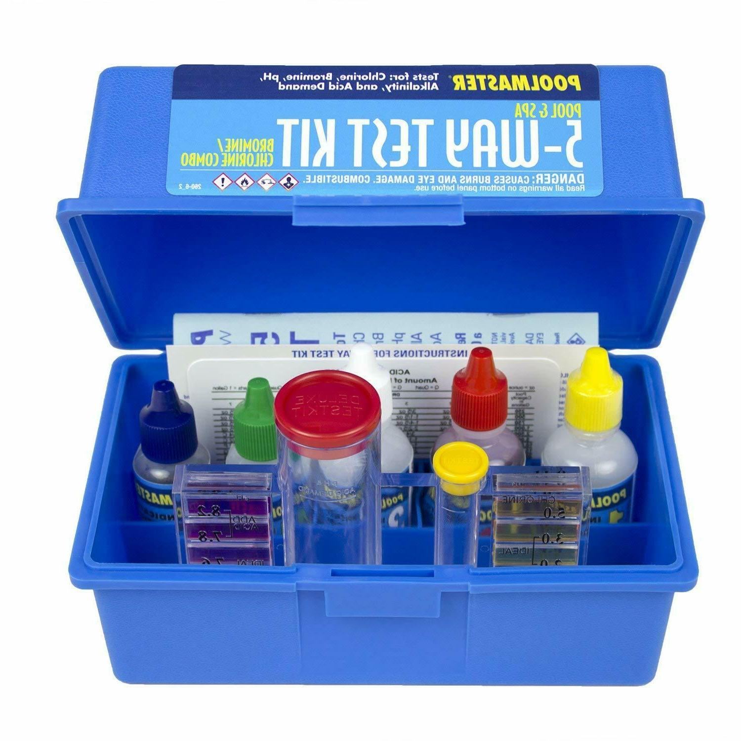 5-Way Swimming Pool or Spa Water Chemistry Test Kit w/ Case