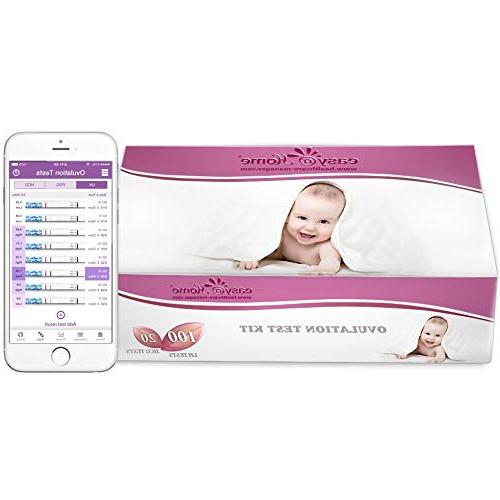 Easy@Home and 20 Strips, Powered Premom Ovulation Predictor APP, and Period Tracking Free APP,100LH