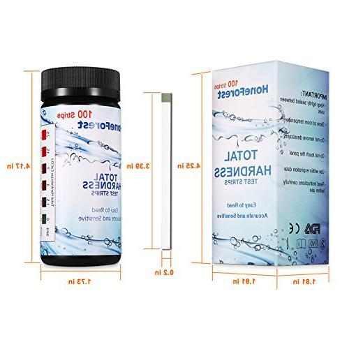 Water Hardness Strips,Upgraded 100ct,0-425 mg/L, HoneForest Hard Water Total of Water Softener, Pool Water,etc